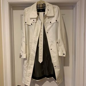 Women's White Burberry Belted Trench Coat